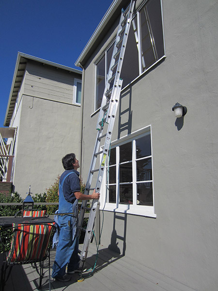 Ladders are properly positioned and secured.